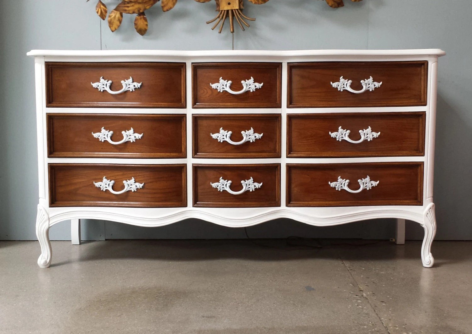 Lacquer Solid Wood French Provencial Dresser by DuBarry of