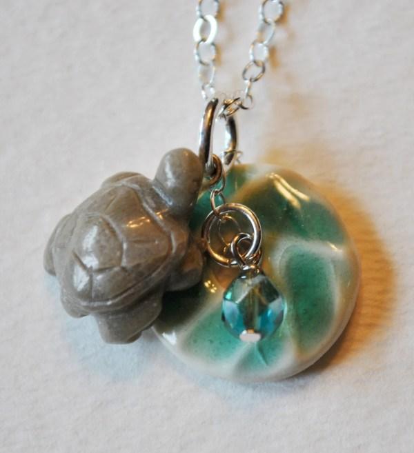 Petoskey Stone Turtle Charm Necklace With Blue Ceramic Pendant