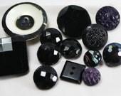 Antique Vintage Buttons - Black Glass - Faceted - Set - Flower - HP - White - SuzBalla