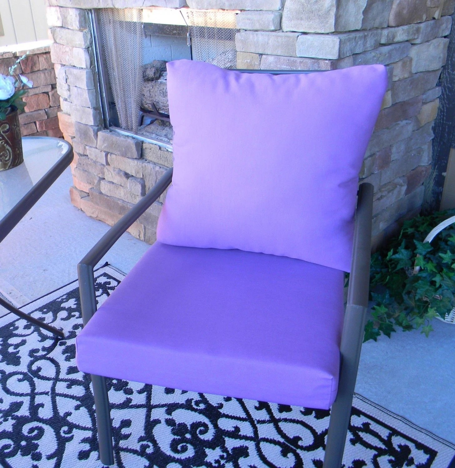 Lavender Chair Outdoor Solid Lavender Purple Foam Cushion And Back Pillow Set
