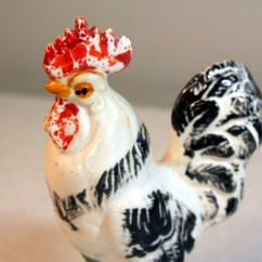 Rooster Statue For Kitchen Pantries Sale Black And White Figurine Chippy