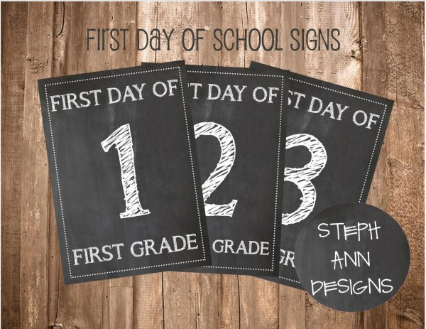 Printable Day Of School Signs-printable Chalkboard
