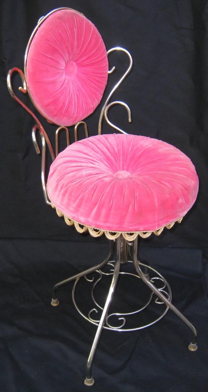 Vintage Hollywood Regency 50s Vanity Velvet Chairstool
