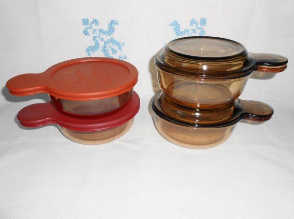 Grab-' Pyrex Corning Amber Vision Ware 2 Glass Lids &