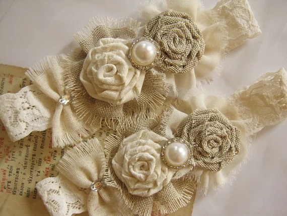 Rustic Wedding Garter Ivory Garter Burlap Wedding Garter