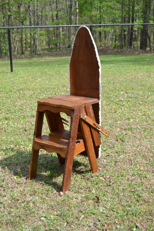 Vintage Wood Ironing Board Ladder Chair Rustic Handmade