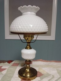 Fenton Lamp 1950s White Hobnail