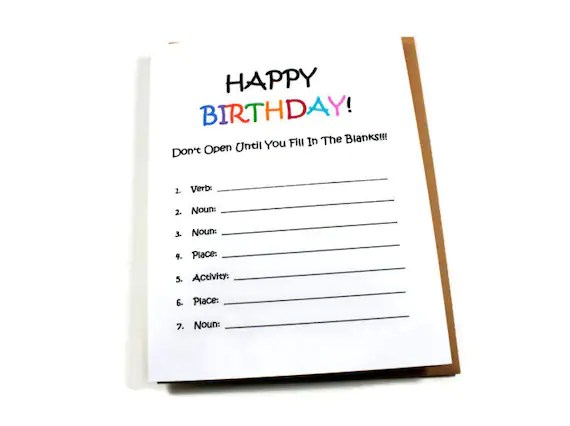 Funny Birthday Card Fill in the Blanks Card by TheNestedTurtle