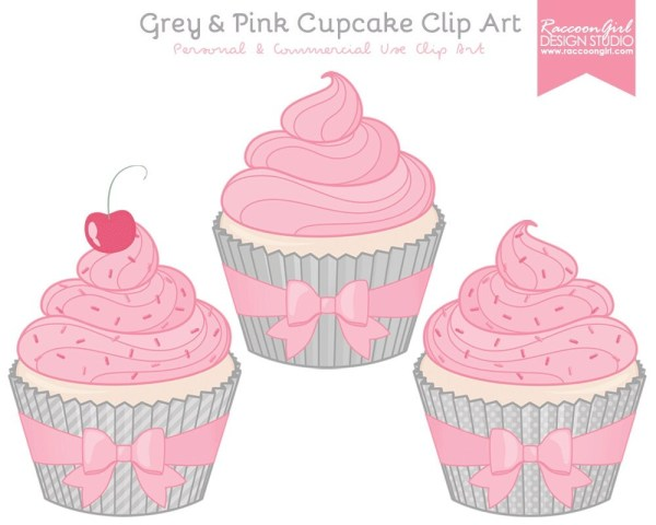 grey and pink cupcake clip