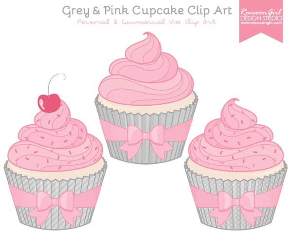 grey and pink cupcake clip art