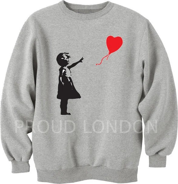 Banksy Girl With A Heart Balloon Graffiti Art Sweatshirt Unisex All SIZES