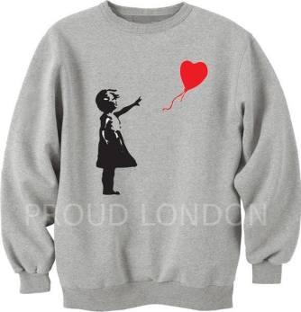 Banksy Girl With A Heart Balloon Graffiti Art Sweatshirt Unisex All SIZES