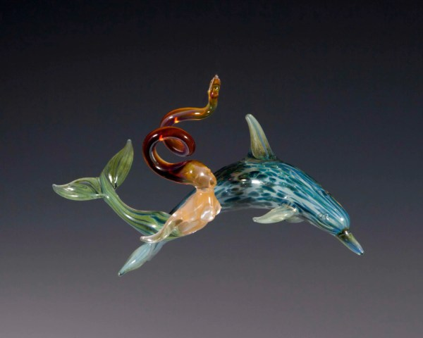 Blown Glass-dolphin With Mermaid Ornament