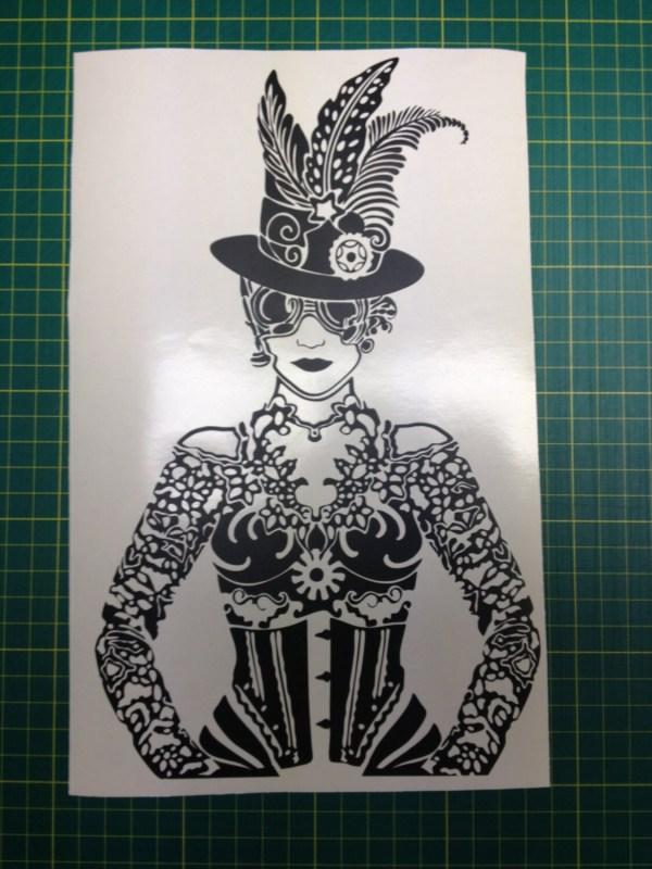 Steampunk Girl Vinyl Decal Sticker Removable Wall Art