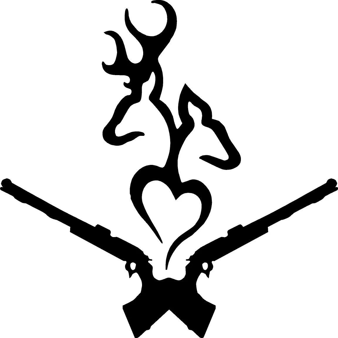 Buck and Doe Heart Decal Browning Style by GraniteCityGraphics