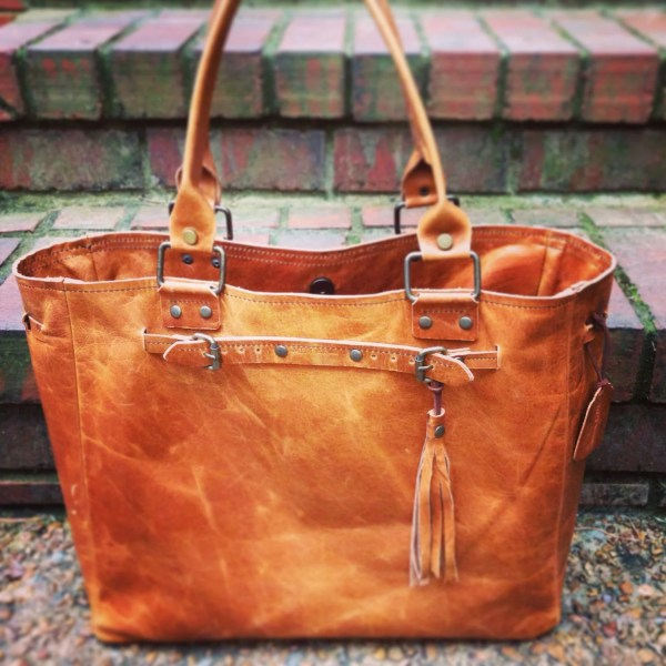 Distressed Brown Leather Oversized Handbag Tote Travelbag