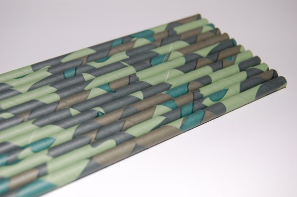Camouflage Paper Straws 25 Pack Green Camo