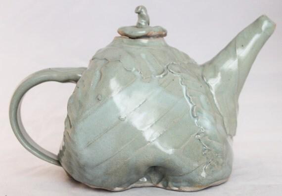 Vintage handmade clay teapot, 1980s.