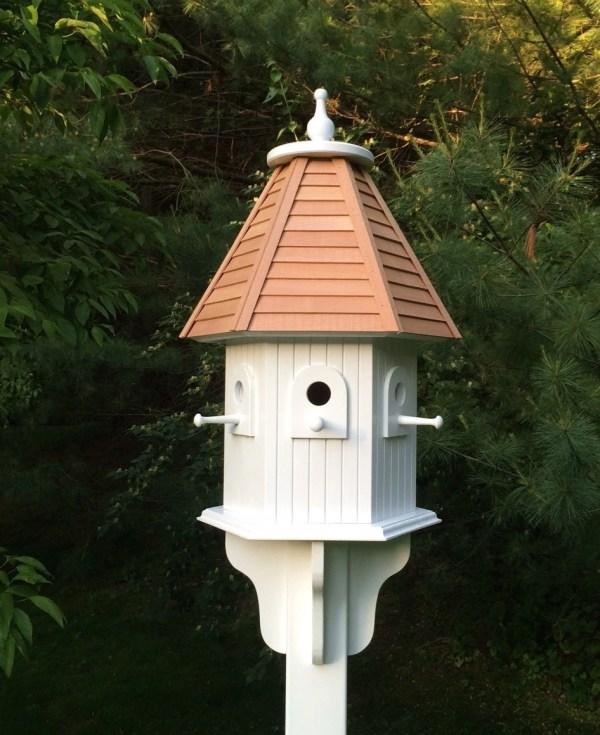 Large Outdoor Hexagon Birdhouse With Hand Cut Cedar Clapboard