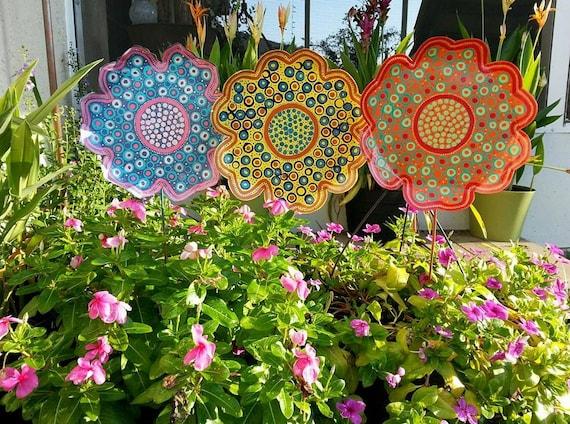 Metal Flower Garden Stake Large Garden Decor Gift For Her