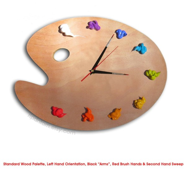 Artist Palette Clock 3d Paint Wood Left Handed