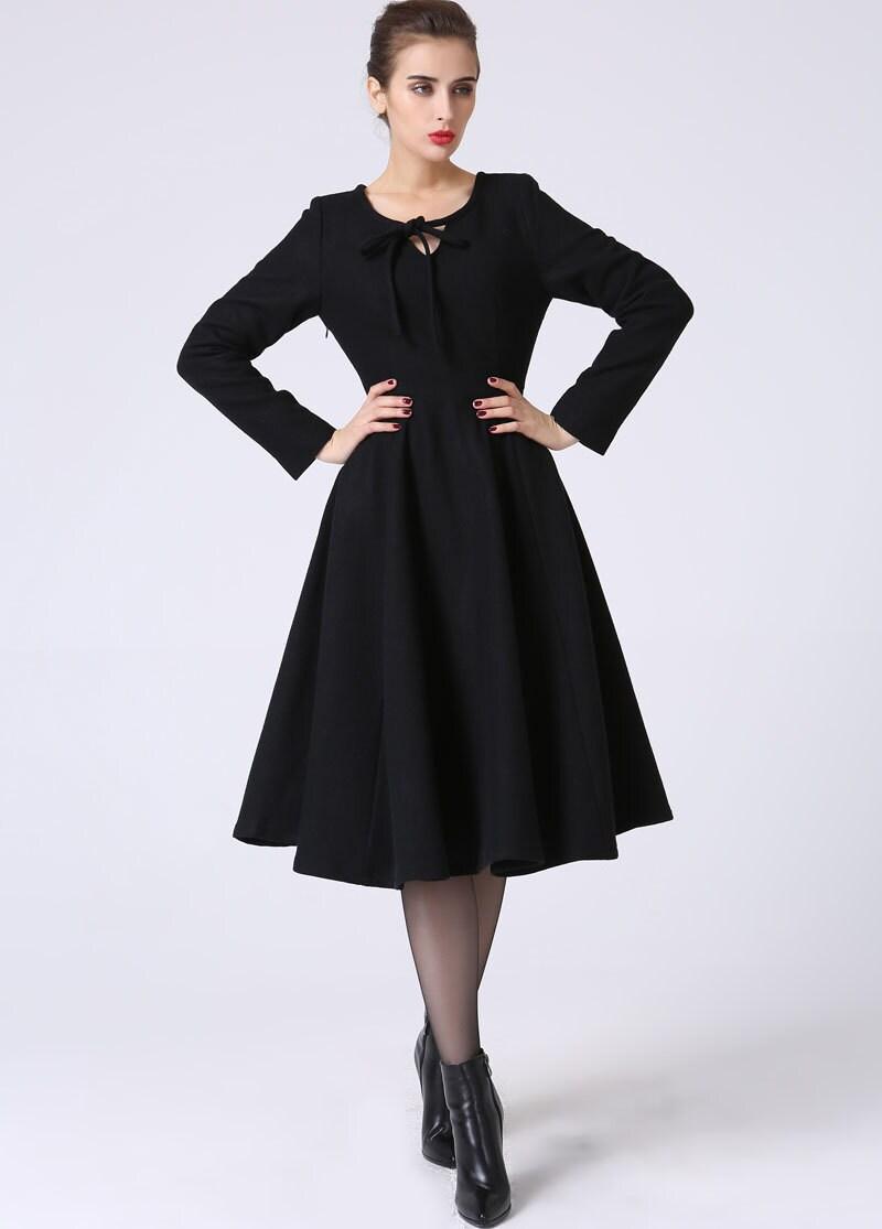 Black dress wool dress winter dress ladies dressesflared