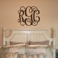 Monogram decal 3 initial monogram decal wall by ...