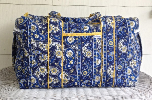 Large Quilted Duffle Duffel Bag Deluxe Blue And Yellow