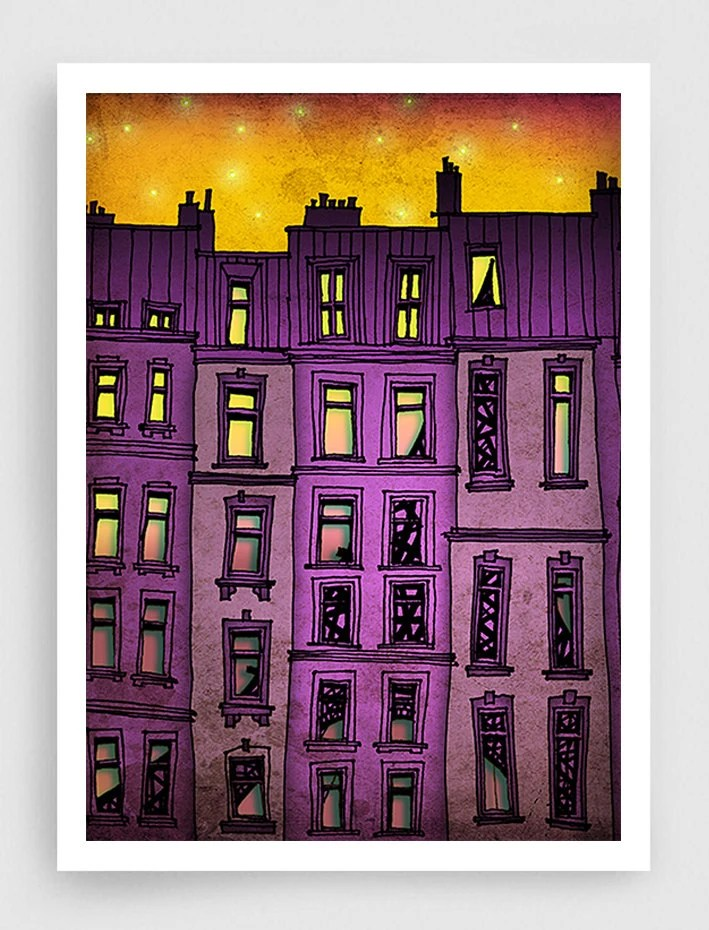 SALE, Paris illustration - Paris purple facade (vertical version) - art print,Paris art illustration,Paris decor,purple illustration,France, - tubidu