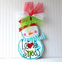 Door Hanger: Unfinished Wood Cutout Snowman Christmas Decor