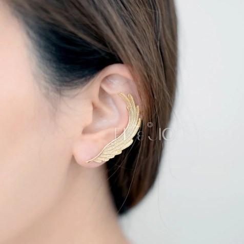 Gold/Silver Second Angel Wing Ear Cuff with Stud Earring