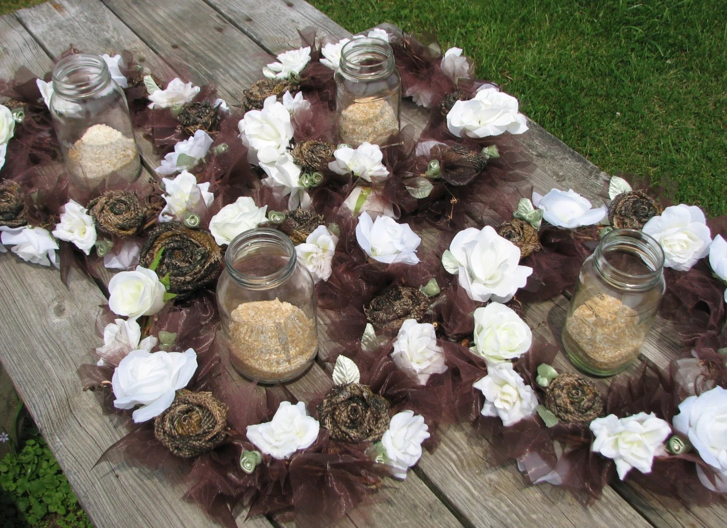 Camo Wedding Lighted Centerpiece Set Of 4 Rustic By