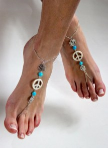 Lotus Flower Bohemian Peace Barefoot Sandals Foot Jewels