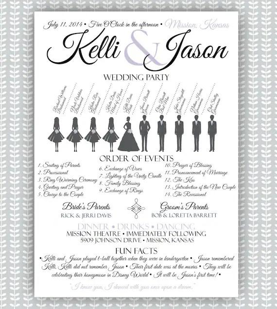 Princess Wedding Ceremony Program Silhouette Bridal Party