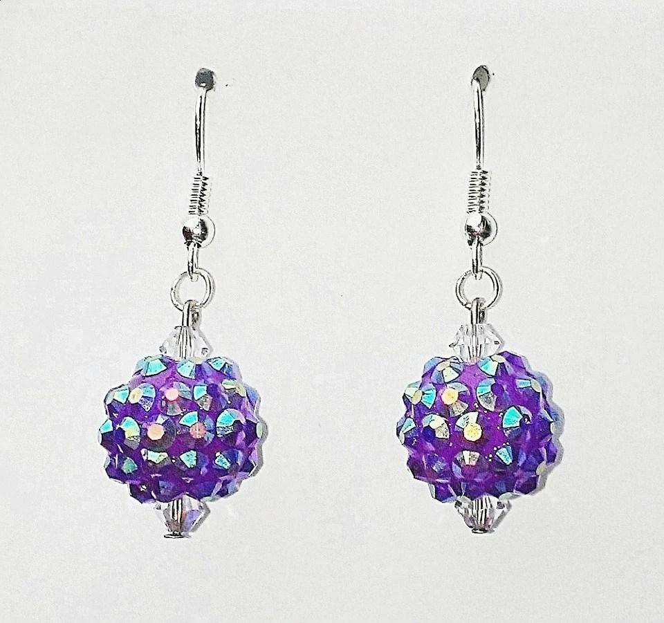Disco Ball Earrings, Purple Earrings, Disco Earrings, Ball Earrings, Swarovski Crystals - Mysterydealmichelle