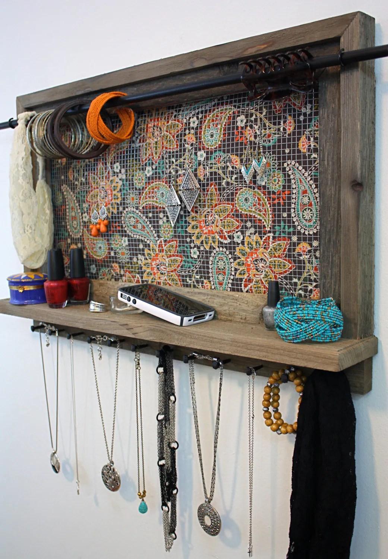 Jewelry Organizer Shelf Boho Jewelry Boho Brown Floral