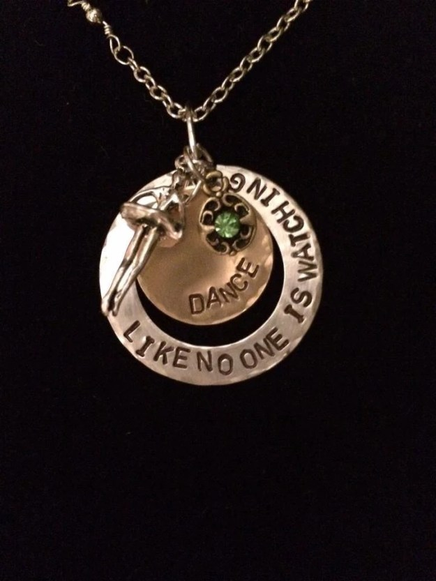 Hand Stamped Jewelry Inspirational Dance Charm Necklace