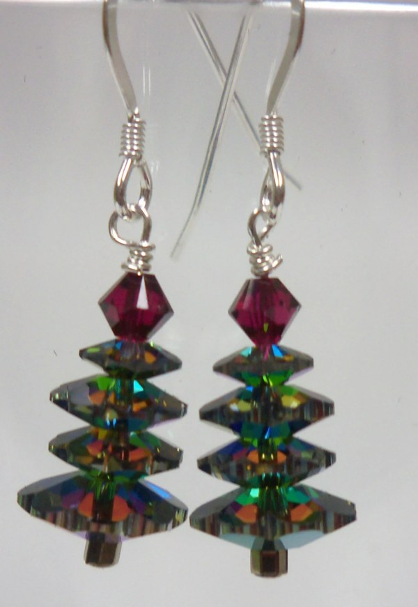 Handmade Jewelry Swarovski Christmas Tree Earrings 12414VM