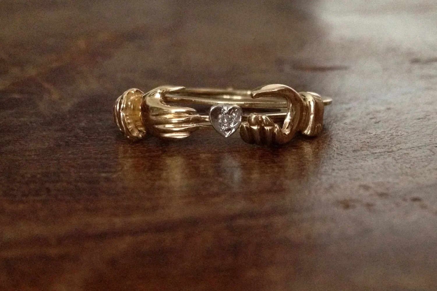 10k 9ct Fede Gimmel Ring With A Tiny Diamond Yellow Gold