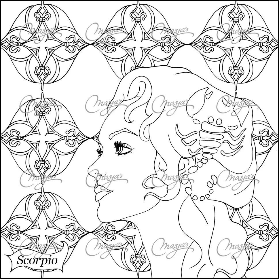 Masja's SCORPIO zodiac sign coloring page by MasjasArtwork
