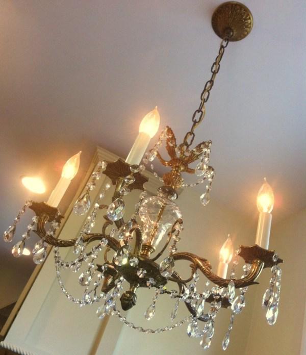 Antique Crystal Chandelier Large 5 Arm Light In Spain
