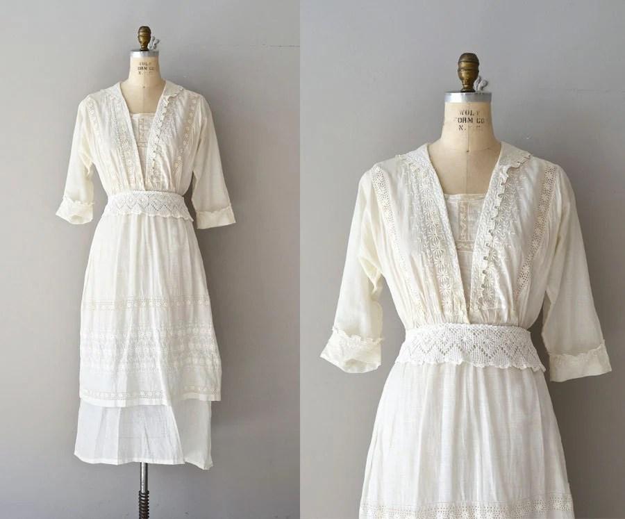 Afternoon Tea Dress Vintage Cotton Edwardian Dress By