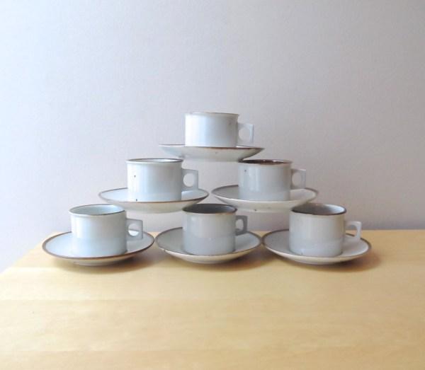 Dansk Brown Mist Flat Cup And Saucer Set Danish Design