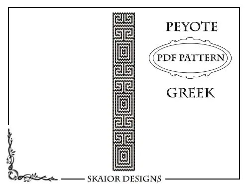 Peyote Bead Pattern Greek Bracelet Peyote Beading Pattern