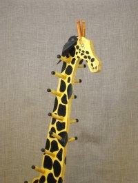 Vintage Folk Art Giraffe Childrens Coat Rack / Animal / Wooden