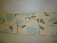 Fabric Wall Art Duck egg Blue Cream Funky Fabric by ...