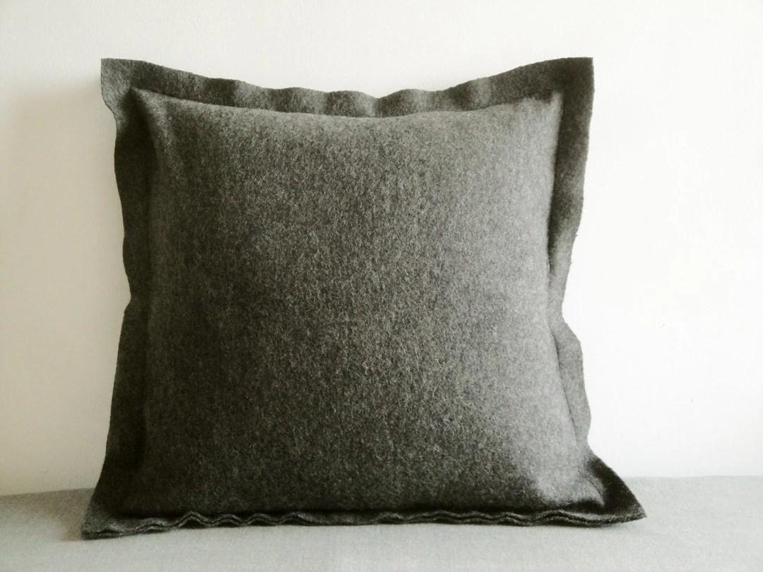 Dark Grey Felt Cushion Cover Decorative Pillow Accent Throw