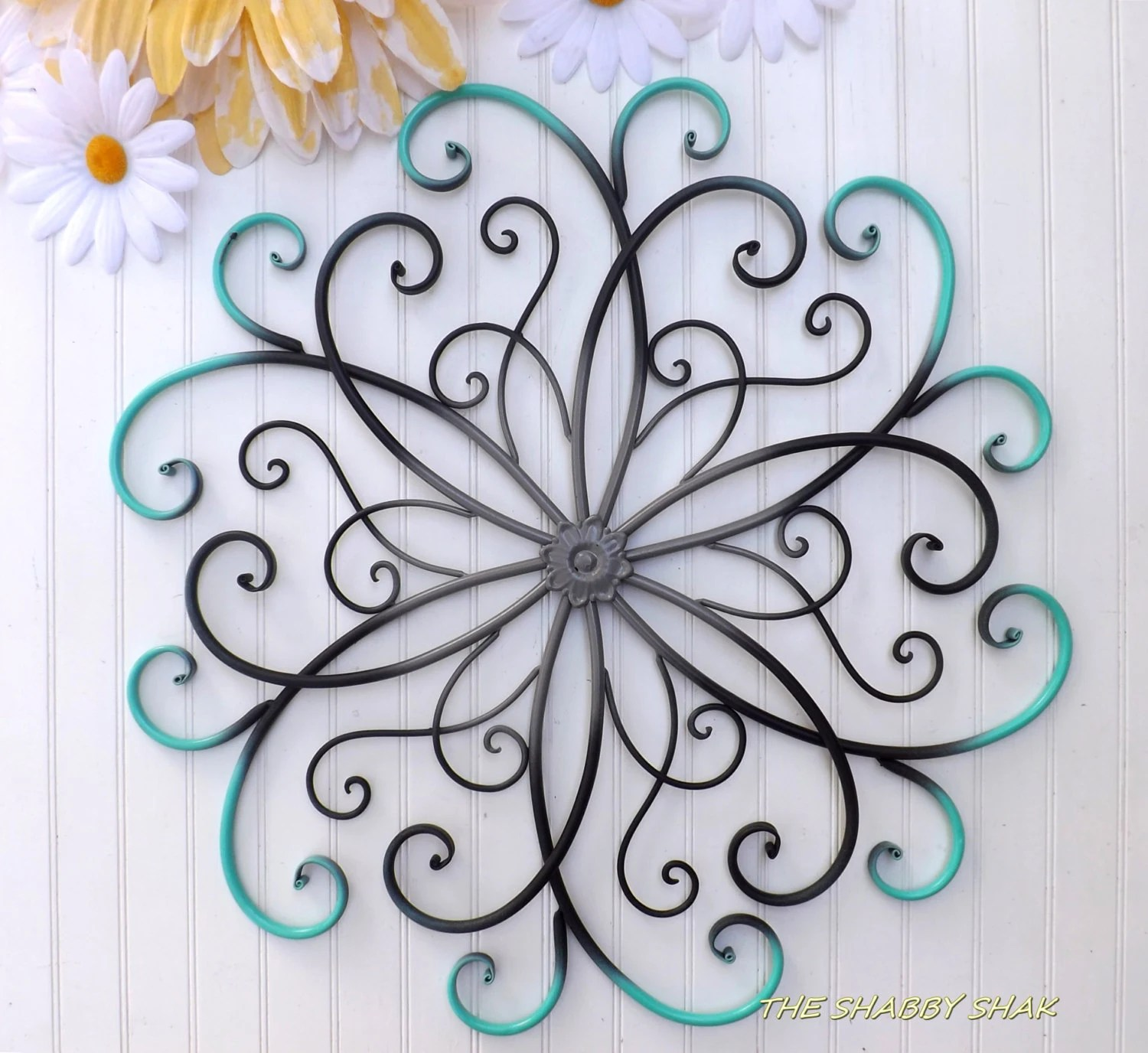 GRAY // Teal // Black // Large Metal Wall Art // by