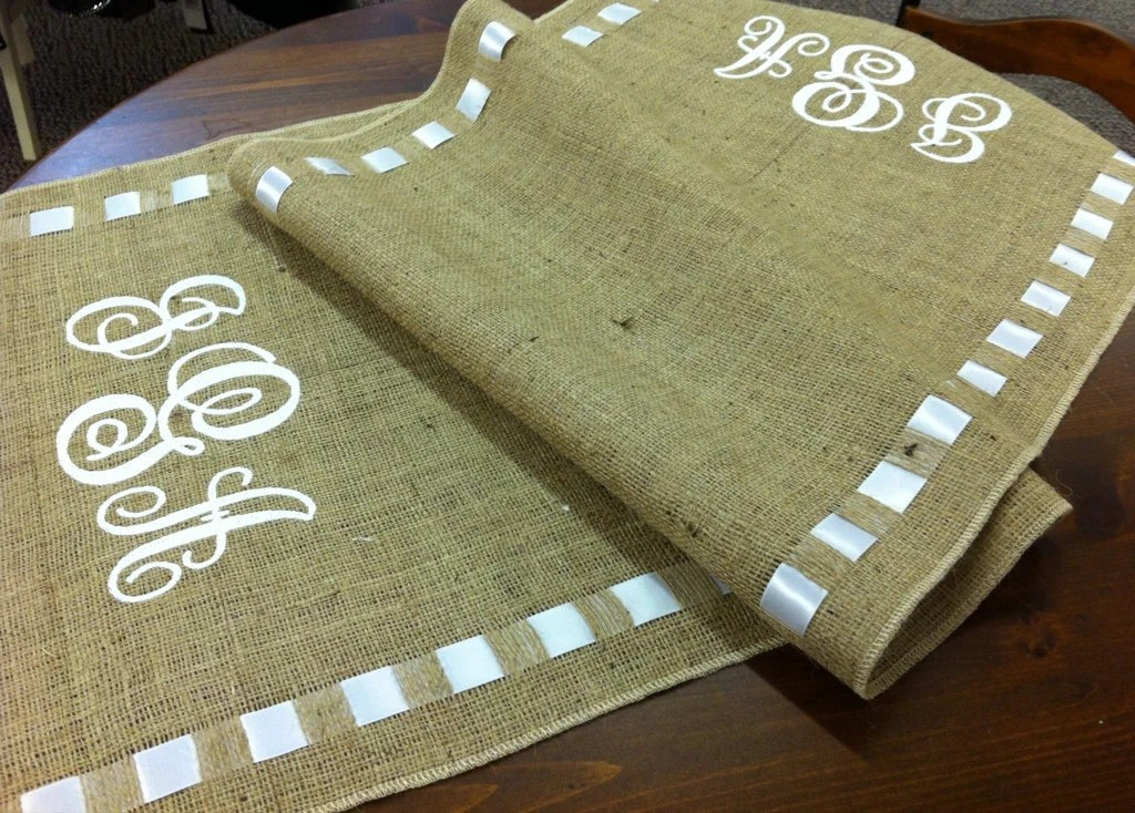 Burlap wedding table runner Rustic wedding table runner