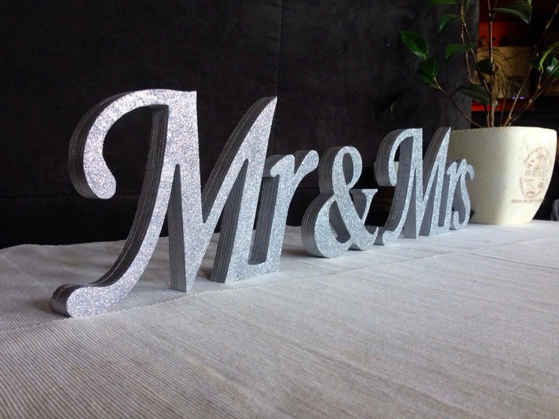 Mrs. And. Mr.. Silver Glitter Sweetheart Table Decoration